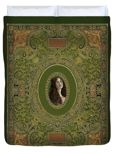 Antique Book Cover With Cameo - Green And Gold Duvet Cover by Peggy Collins
