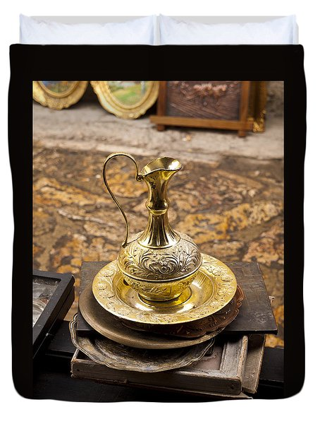 Antique Brass Pitcher Duvet Cover by Rae Tucker