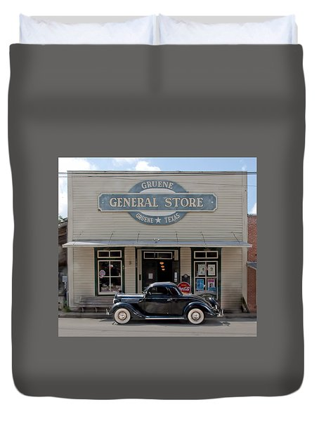 Antique Car At Gruene General Store Duvet Cover