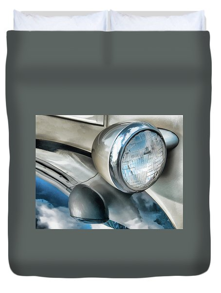 Antique Car Headlight And Reflections Duvet Cover