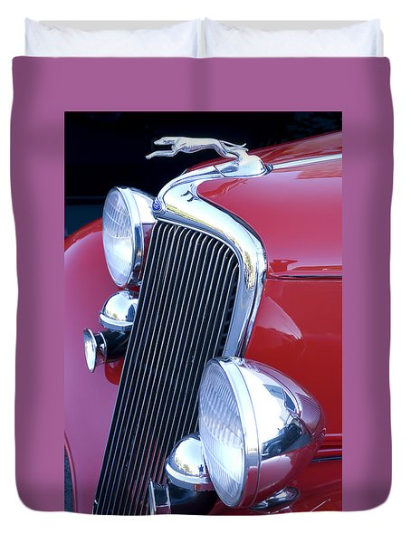 Antique Car Hood Ornament Duvet Cover