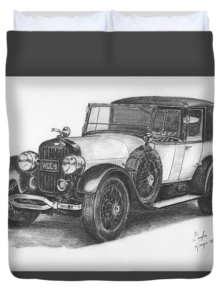 Antique Car -pencil Study Duvet Cover