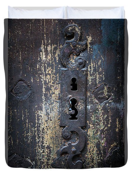 Duvet Cover featuring the photograph Antique Door Lock Detail by Elena Elisseeva