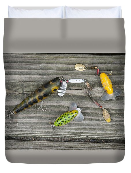 Antique Fishing Lures Duvet Cover