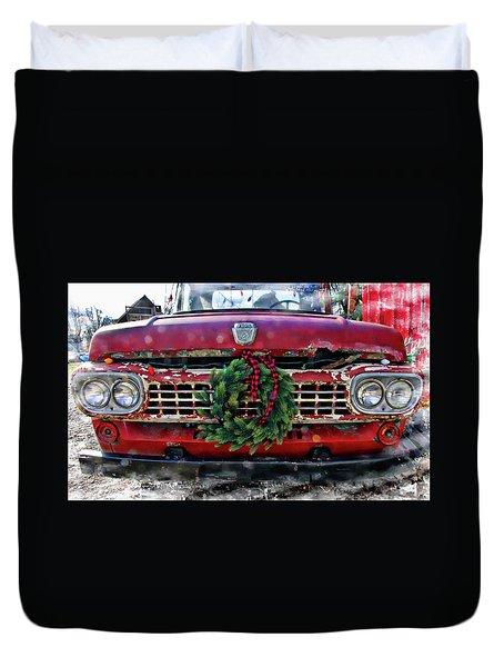 Antique Ford Christmas Duvet Cover