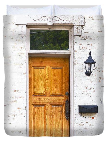 Antique Front Door And Flower Bed Duvet Cover