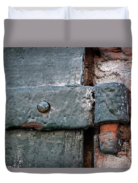 Duvet Cover featuring the photograph Antique Hinge by Elena Elisseeva