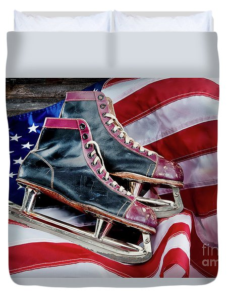 Antique Ice Skates. Duvet Cover