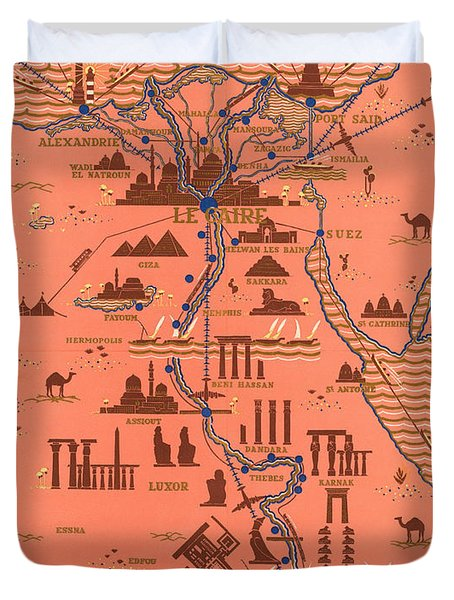 Antique Illustrated Map Of Egypt _ Monuments Around River Nile - Cairo, Luxor, Abu Simbel Duvet Cover