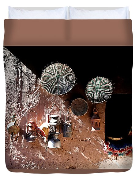Duvet Cover featuring the photograph Antique Lanterns by Andrew Fare