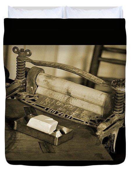 Antique Laundry Ringer And Handmade Lye Soap In Sepia Duvet Cover