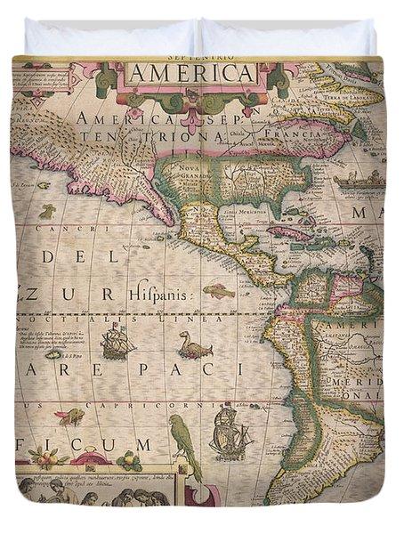 Antique Map Of America Duvet Cover by Jodocus Hondius