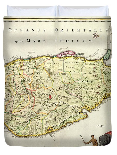 Antique Map Of Ceylon Duvet Cover by Nicolas Visscher