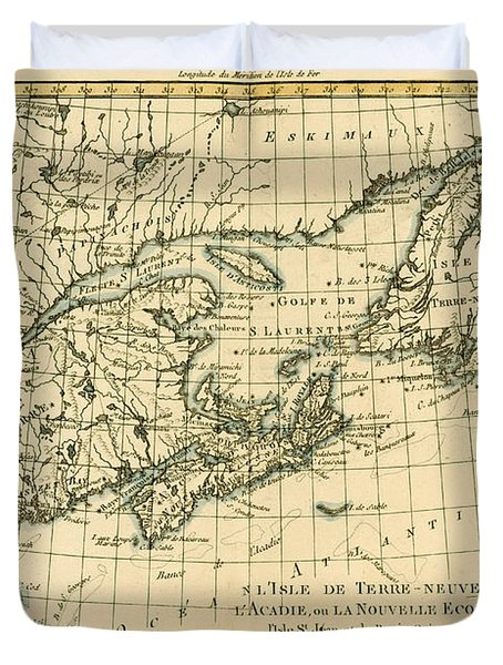 Antique Map Of Eastern Canada Duvet Cover by Guillaume Raynal