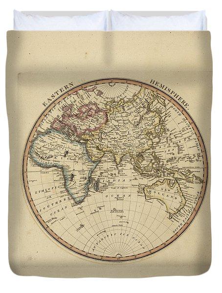 Antique Map Of Eastern Hemisphere Duvet Cover