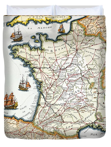 Antique Map Of France Duvet Cover by French School