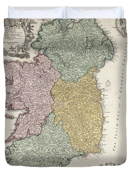Antique Map Of Ireland Showing The Provinces Duvet Cover by Johann Baptist Homann