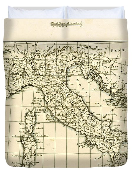 Antique Map Of Italy Duvet Cover by Guillaume Raynal