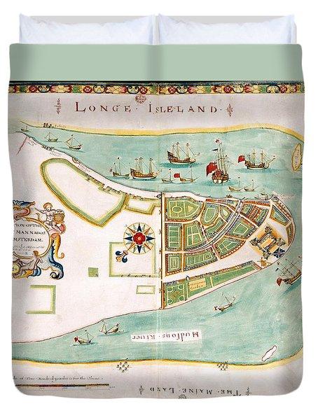 Antique Map Of Manhattan New York 1664 Duvet Cover