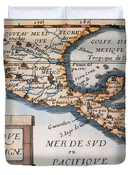 Antique Map Of Mexico Or New Spain Duvet Cover by French School