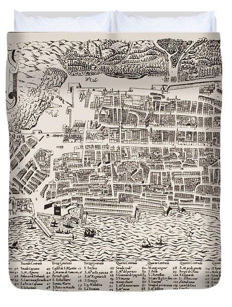 Antique Map Of Naples Duvet Cover by Italian School