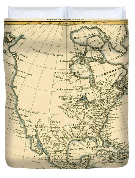 Antique Map Of North America Duvet Cover by Guillaume Raynal