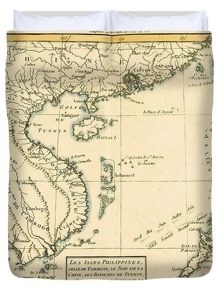 Antique Map Of South East Asia Duvet Cover by Guillaume Raynal