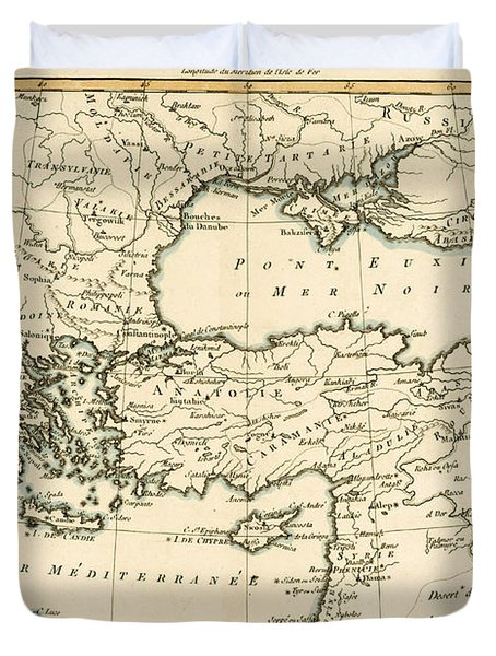 Antique Map Of Turkey Duvet Cover by Guillaume Raynal