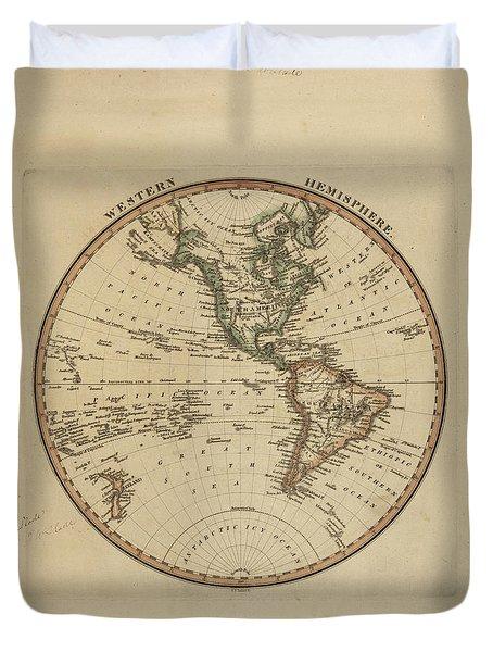Antique Map Of Western Hemisphere Duvet Cover