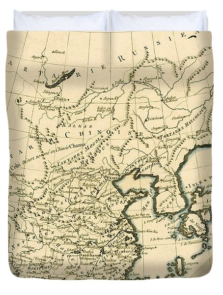 Antique Map The Chinese Empire Duvet Cover by Guillaume Raynal