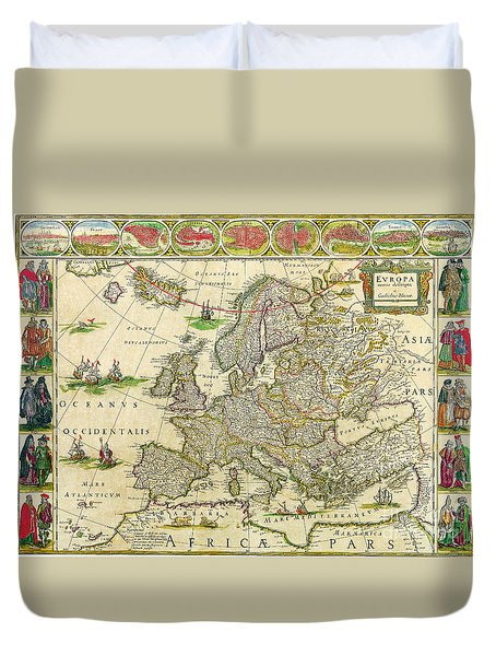 Antique Maps Of The World Map Of Europe Willem Blaeu C 1650 Duvet Cover