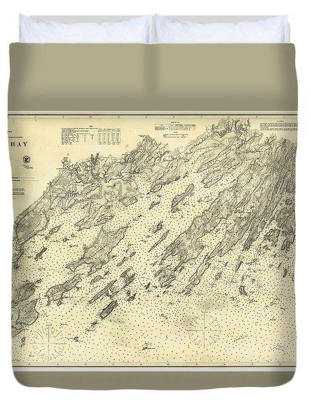 Antique Maps - Old Cartographic Maps - Antique Map Of Casco Bay, Maine, 1870 Duvet Cover
