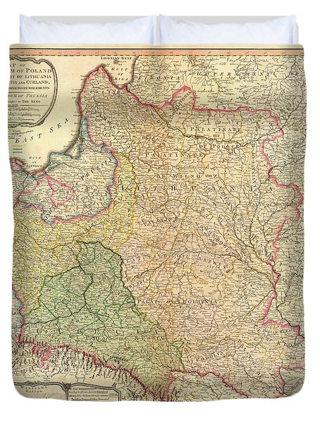 Antique Maps - Old Cartographic Maps - Antique Map Of The Kingdom Of Poland And Lithuania, 1799 Duvet Cover
