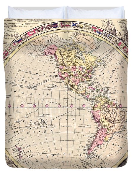 Antique Maps - Old Cartographic Maps - Antique Map Of The Western Hemisphere, 1882 Duvet Cover
