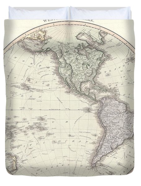 Antique Maps - Old Cartographic Maps - Antique Map Of The Western Hemisphere Duvet Cover
