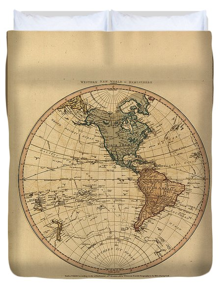 Antique Maps - Old Cartographic Maps - Antique Map Of The Western World - Western Hemisphere Duvet Cover