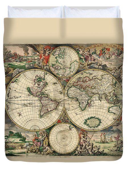 Antique Maps - Old Cartographic Maps - Antique Map Of The World, Double Hemisphere, 1689 Duvet Cover