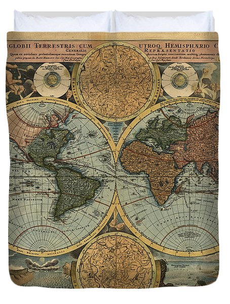 Antique Maps - Old Cartographic Maps - Antique Map Of The World, Double Hemisphere, Globe Duvet Cover