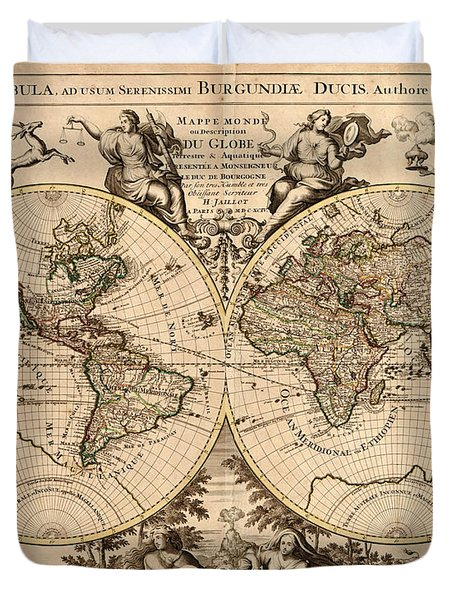 Antique Maps - Old Cartographic Maps - Antique Map Of The World - Double Hemisphere Map Duvet Cover