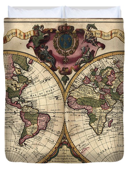 Antique Maps - Old Cartographic Maps - Antique Map Of The World, Double Hemisphere - Mappemonde Duvet Cover