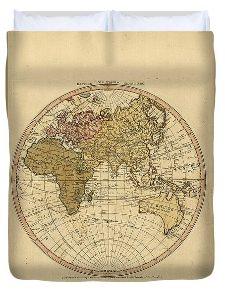 Antique Maps - Old Cartographic Maps - Antique Map Of The World - Eastern Hemisphere Map Duvet Cover