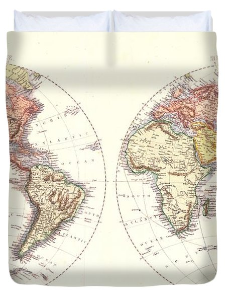 Antique Maps - Old Cartographic Maps - Antique Map Of The World, Hemispheres, 1850 Duvet Cover