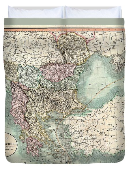 Antique Maps - Old Cartographic Maps - Antique Map Of Turkey In Europe, Greece And The Balkans, 1801 Duvet Cover
