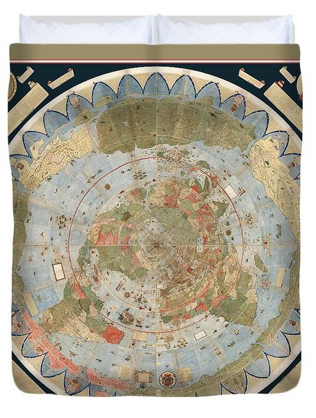 Antique Maps - Old Cartographic Maps - Flat Earth Map - Map Of The World Duvet Cover