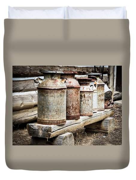 Duvet Cover featuring the photograph Antique Milk Cans by Nadja Rider
