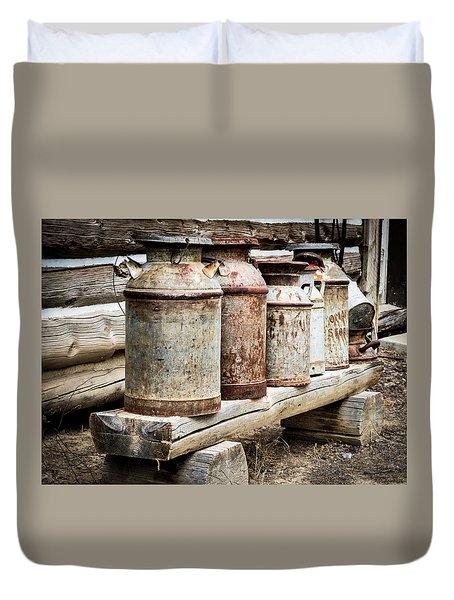Antique Milk Cans Duvet Cover