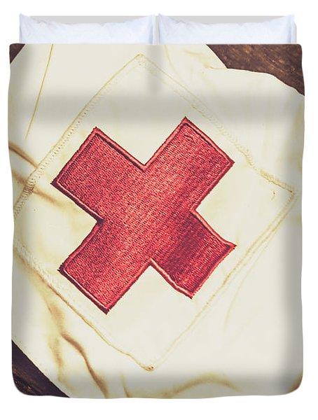 Antique Nurses Hat With Red Cross Emblem Duvet Cover