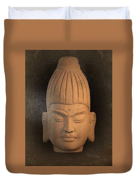 antique oil effect Buddha Burmese Duvet Cover by Terrell Kaucher