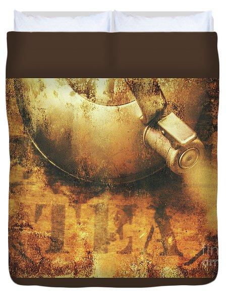 Antique Old Tea Metal Sign. Rusted Drinks Artwork Duvet Cover