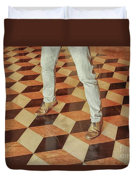 Duvet Cover featuring the photograph Antique Optical Illusion Floor Tiles by Patricia Hofmeester